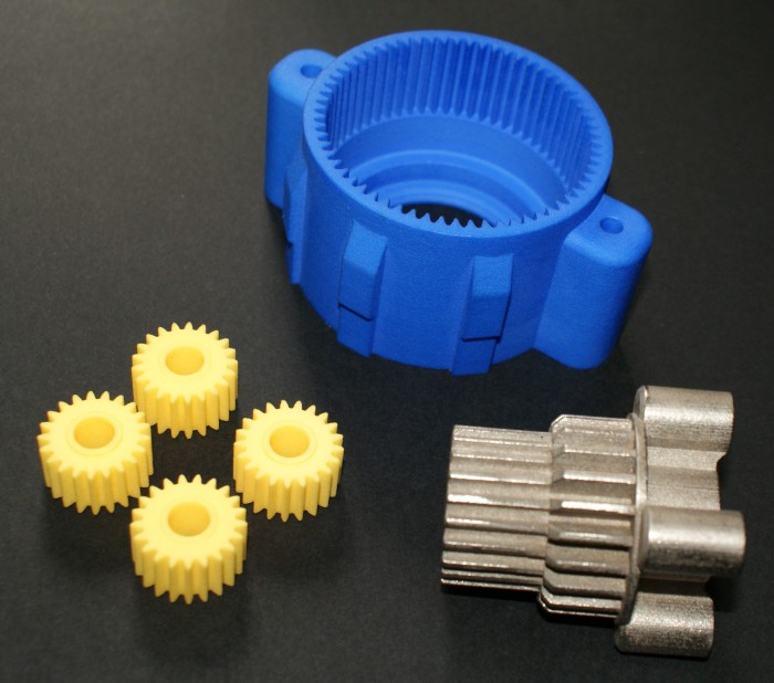 The gearbox components printed out