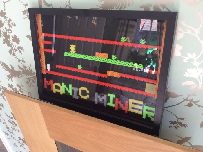 Manic Miner mounted in the glass frame